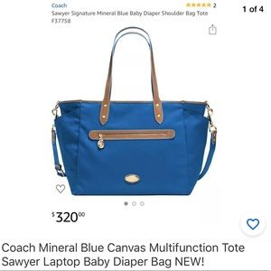 Coach Mineral Blue Canvas Sawyer Diaper Tote NEW!